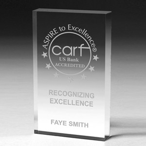 "Scalloped Edge Rectangular Acrylic Paperweight Award w/4-Color Process (4""x 6""x 1"")"