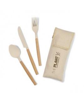Gaia Bamboo Fiber Cutlery Set - Natural Bamboo Fiber