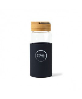 Tahiti Bamboo Glass Bottle - 18 Oz. - Black