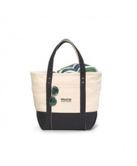 Seaside Zippered Cotton Tote Black-Natural
