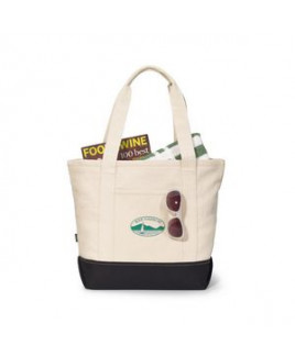 Newport Cotton Zippered Tote Black-Natural