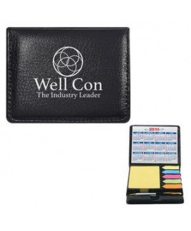Square Leather Look Case Of Sticky Notes With Calendar & Pen
