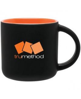 14 Oz. Minolo Mug With Matte Black Outside/ Glossy Orange Interior