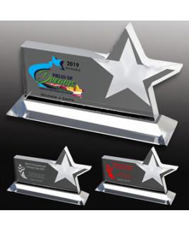 Clear Horizontal Acrylic Star Award - 4 Color Process