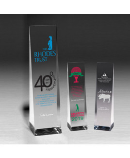 "Angled Obelisk Award (9 1/2""x2 1/2""x2"") - Screen Printed"