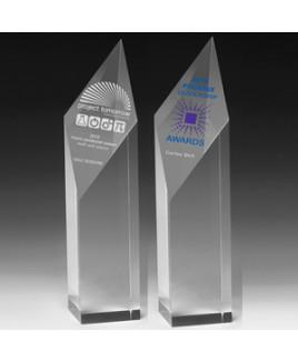 "Screen Printed Acrylic Diamond Obelisk Award (9""x 2""x 2"")"
