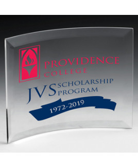 "Freestanding Curved Award (4""x6""x1/4"") - Laser Engraved"