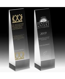 """Angled Obelisk Award. (6""""x2 1/2""""x2"""") - Screen Printed"""