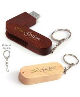 8 GB Universal Source™ Bamboo Bullet Keyring USB 2.0 Flash Drive
