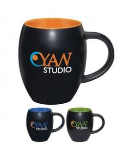 17 Oz. Matte Barrel Ceramic Mug w/ Color Interior