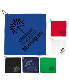 """The Wedge"" 300GSM Heavy Duty Microfiber Golf Towel w/Metal Grommet & Clip"