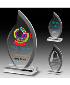 "Laser Engraved Multi-Faceted Acrylic Flame Award (5""x 9 1/2""x 3/4"")"