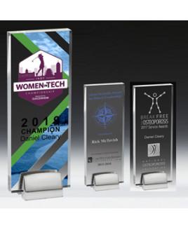 "Rectangle Acrylic Award w/Chrome Base (3 1/2""x9""x3/4"") - Screen Printed"