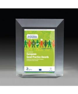"Beveled Elegant Freestanding Awards - 4 Color Process - (5"" x 6"" x 1¼"")"