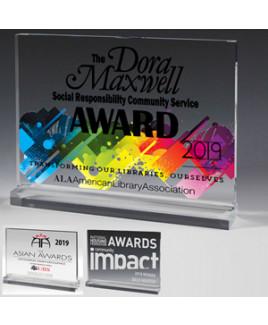 """Mini Billboard Acrylic Award (6""""x4 1/2""""x1/2"""") - Screen Printed"""