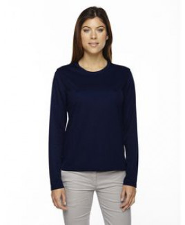 CORE 365 Ladies' Agility Performance Long-Sleeve Piqué Crewneck