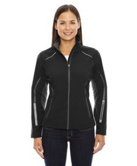 NORTH END SPORT RED Ladies' Pursuit Three-Layer Light Bonded Hybrid Soft Shell Jacket with Laser Per