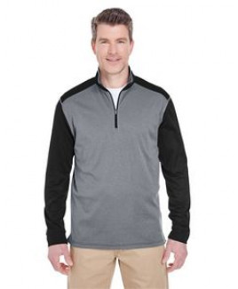 UltraClub® Adult Cool & Dry Sport Two-Tone Quarter-Zip Pullover Shirt