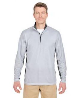 UltraClub® Adult Two-Tone Keyhole Mesh Quarter-Zip Pullover Shirt