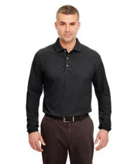 UltraClub® Adult Long-Sleeve Classic Piqué Polo Shirt
