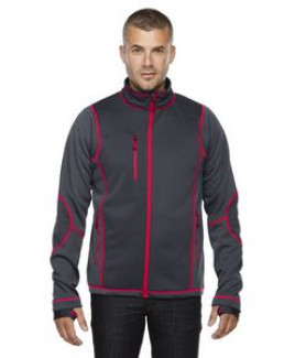 NORTH END SPORT RED Men's Pulse Textured Bonded Fleece Jacket with Print