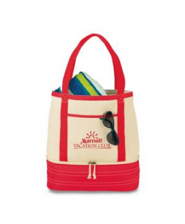 Coastal Cotton Insulated Tote Red-Natural