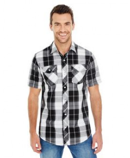 Burnside Men's Short-Sleeve Plaid Pattern Woven Shirt