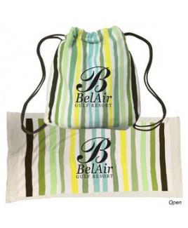2-In-1 Microfiber Beach Towel Drawstring Bag