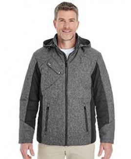 Devon and Jones Men's Midtown Insulated Fabric-Block Jacket with Crosshatch Mélange
