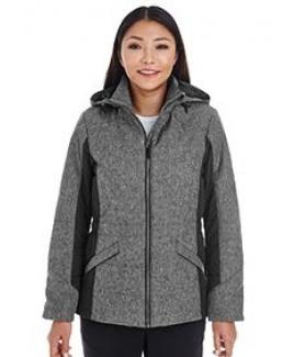 Devon and Jones Ladies' Midtown Insulated Fabric-Block Jacket with Crosshatch Mélange