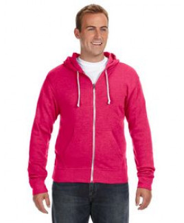J AMERICA Adult Triblend Full-Zip Fleece Hood
