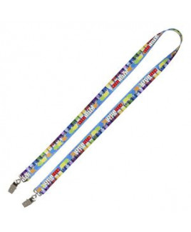 """3/4"""" Super Soft Polyester Multi-Color Sublimation Lanyard w/Dual Attachments (10 Days)"""