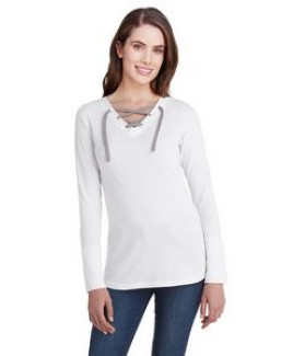 LAT Ladies' Long Sleeve Fine Jersey Lace-Up T-Shirt