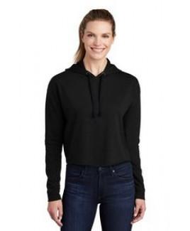 Sport-Tek® Ladies' PosiCharge® Tri-Blend Wicking Fleece Crop Hooded Pullover Hoodie