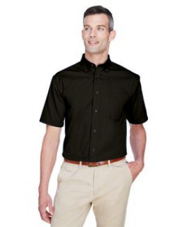 Harriton Men's Easy Blend? Short-Sleeve Twill Shirt withStain-Release