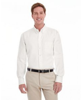 Harriton® Men's Foundation 100 percent Cotton Long Sleeve Twill Shirt w/Teflon™