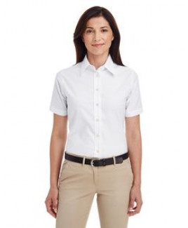Harriton Ladies' Short-Sleeve Oxford with Stain-Release