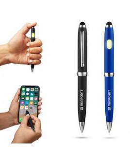 Metallic COB Ballpoint Pen w/Stylus