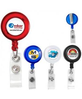 """Lorain VL"" Round Retractable Badge Reel & Badge Holder w/Metal Slip Clip Backing"
