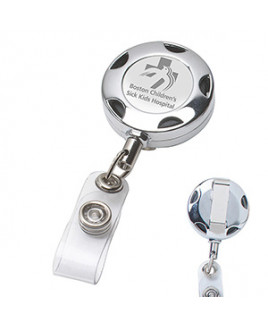 """Tiffin LZ"" Round Chrome Solid Metal Sport Reel & Badge Holder w/Laser Imprint (Overseas)"