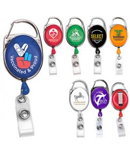 """""""Oberlin"""" Retractable Carabiner Style Badge Reel & Badge Holder (Overseas)"""