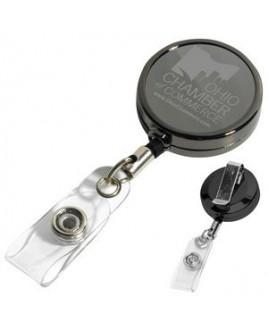 """Dublin Gunmetal LZ"" Solid Metal Retractable Badge Reel & Badge Holder w/Laser Imprint (Overseas)"