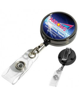 """Dublin Gunmetal"" Solid Metal Retractable Badge Reel & Badge Holder w/Full Color (Overseas)"