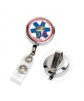 """Dublin Chrome LZ"" Laser Engraved Solid Metal Retractable Badge Reel & Badge Holder"