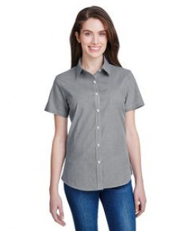 ARTISAN COLLECTION BY REPRIME Ladies' Microcheck Gingham Short-Sleeve Cotton Shirt