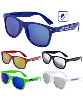 """""""Clairemont"""" Colored Mirror Tint Lens Sunglasses w/High Gloss Frame (Overseas)"""