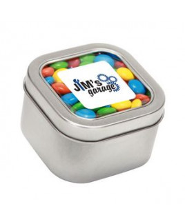 M&Ms - Plain in Large Square Window Tin