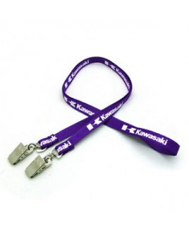 "3/8"" Silkscreened Flat Lanyard w/ Double Standard Attachment"