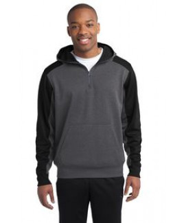 Sport-Tek® Colorblock Tech Fleece 1/4 Zip Hooded Sweatshirt