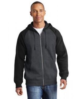 Adult Sport-Tek® Raglan Colorblock Full Zip Hooded Fleece Jacket